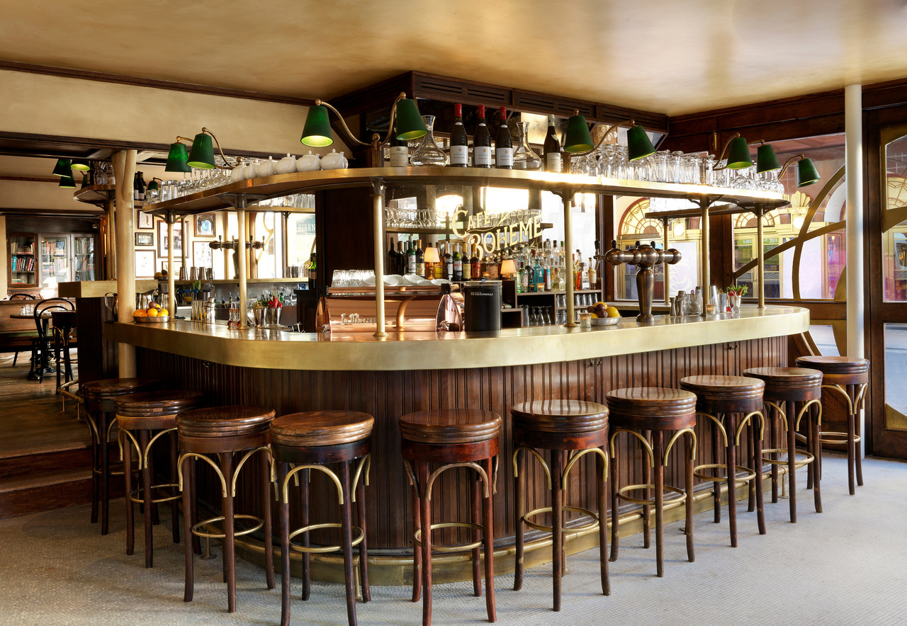 A vintage bar with wooden bar stools